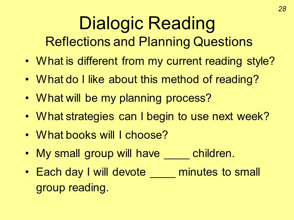 Dialogic Reading Reflections and Planning Questions