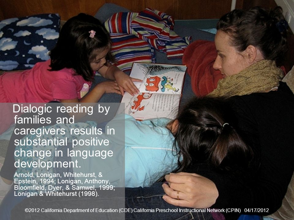 Family Engagement Dialogic reading by families and caregivers results in substantial positive change in language development.