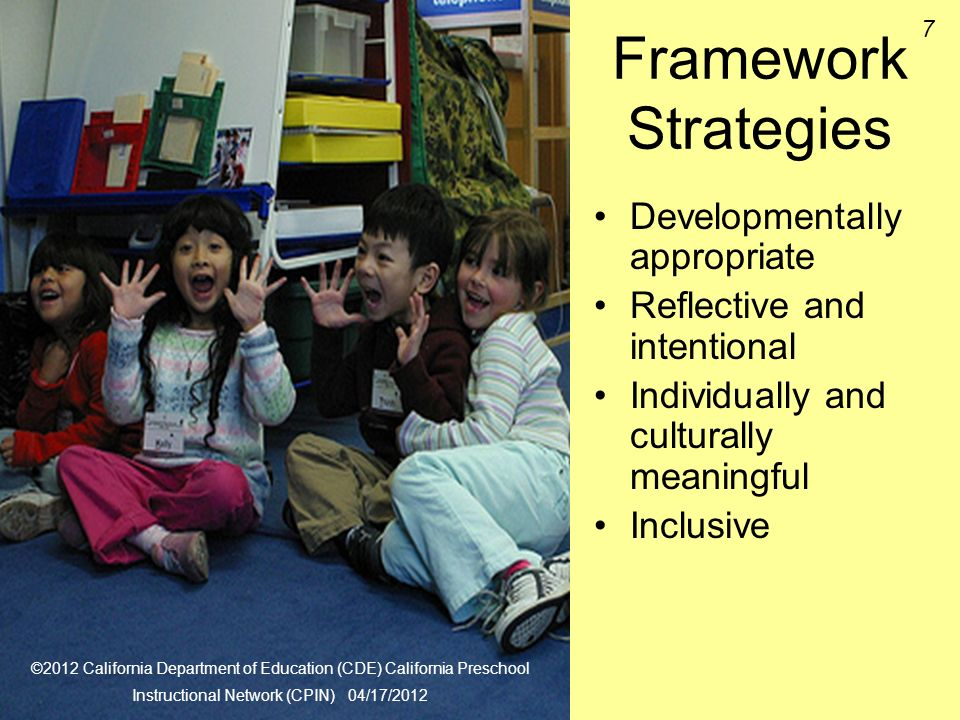 Framework Strategies Developmentally appropriate