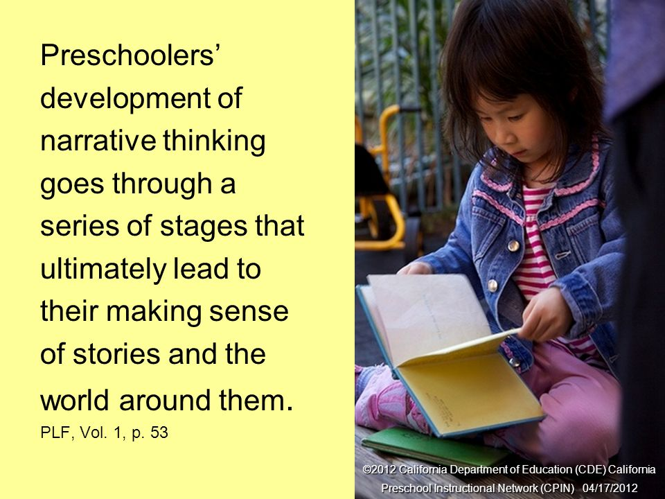 Series of Stages Preschoolers' development of narrative thinking