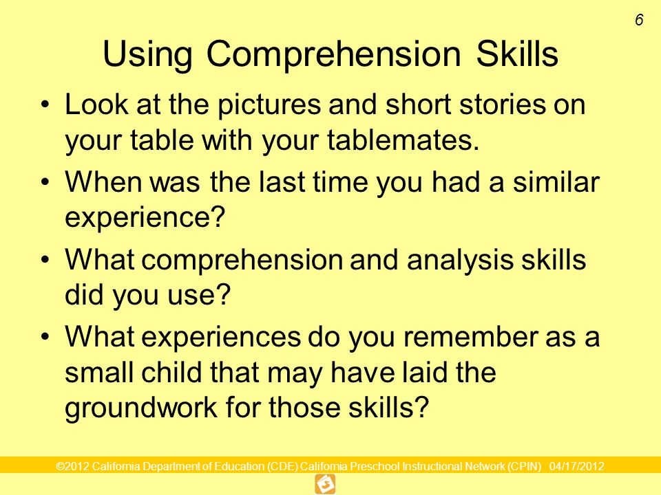 Using Comprehension Skills