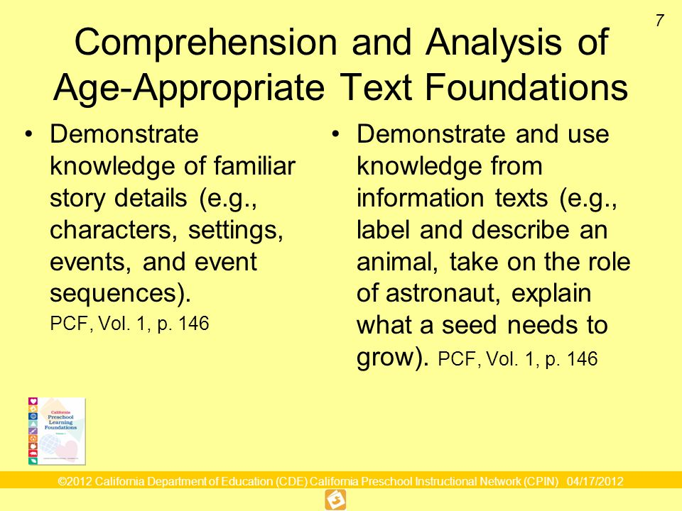 Comprehension and Analysis of Age-Appropriate Text Foundations