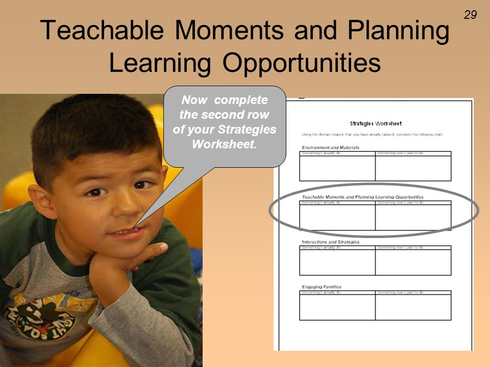 Teachable Moments and Planning Learning Opportunities