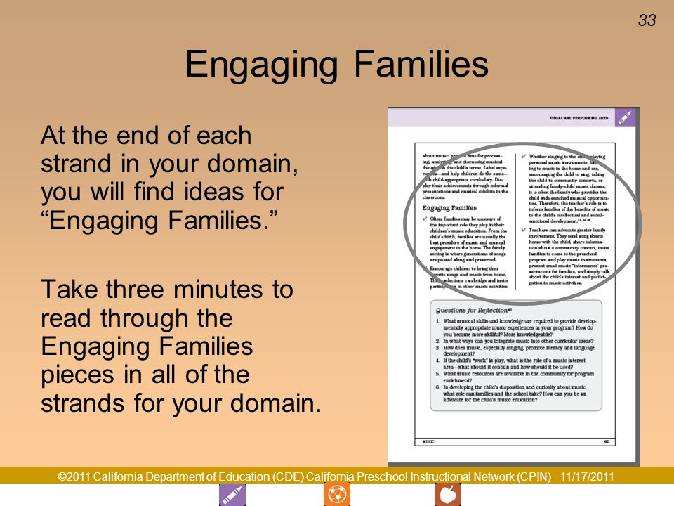 Engaging Families At the end of each strand in your domain, you will find ideas for Engaging Families.