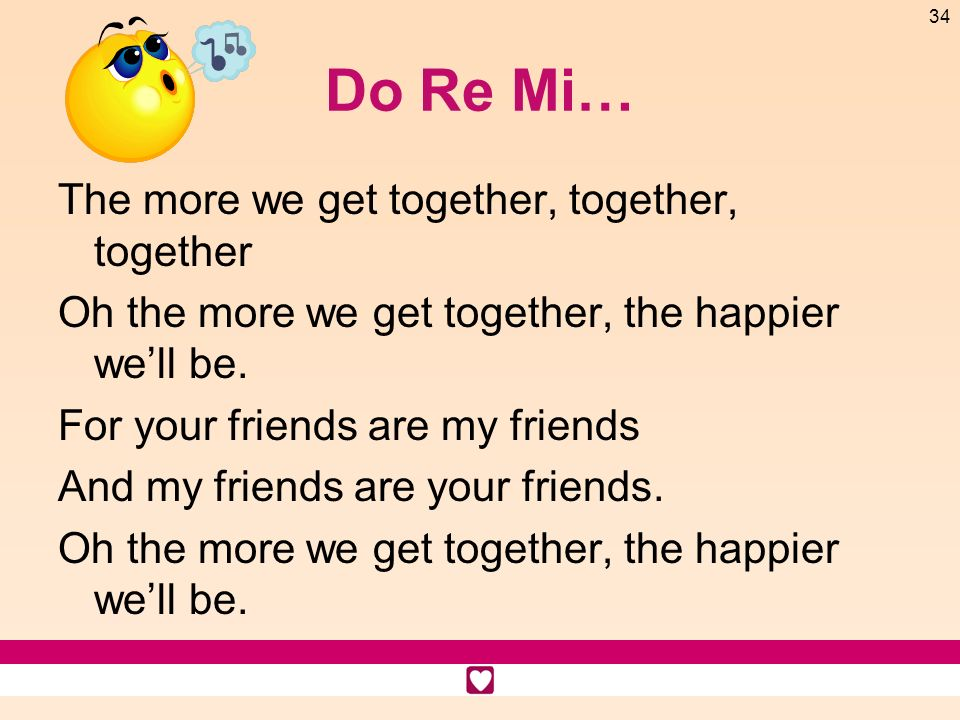 Do Re Mi… The more we get together, together, together