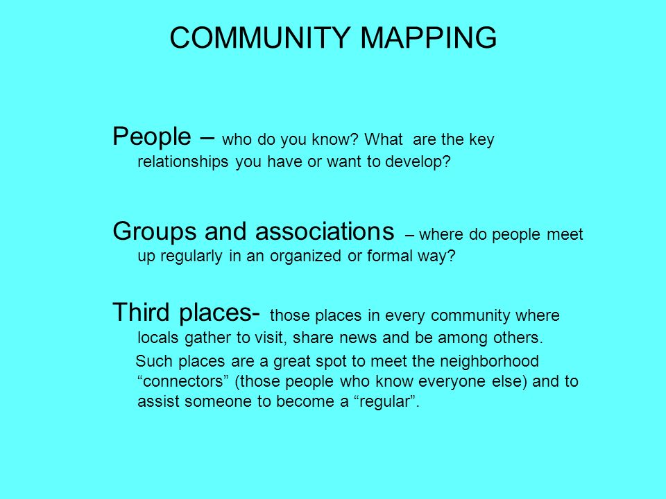 COMMUNITY MAPPING People – who do you know What are the key relationships you have or want to develop