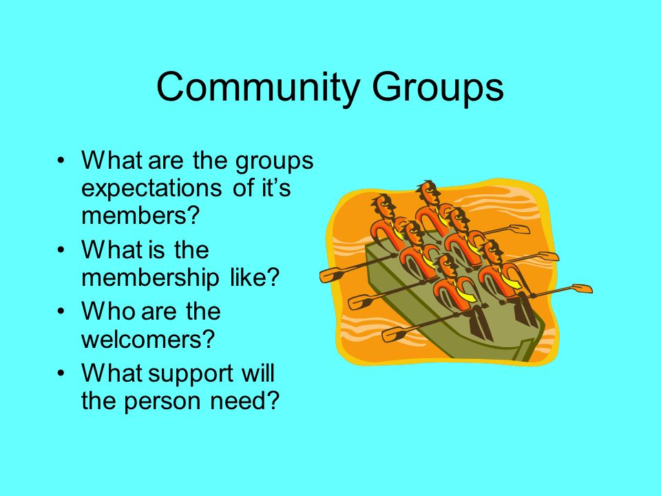 Community Groups What are the groups expectations of it's members