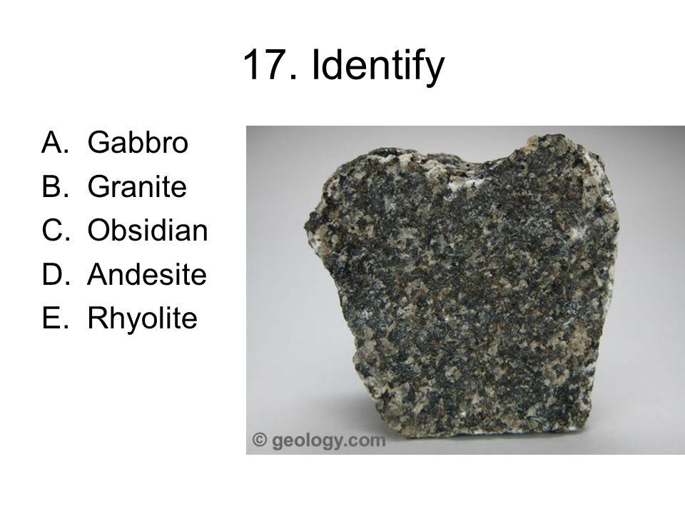 Identify Gabbro Granite Obsidian Andesite Rhyolite