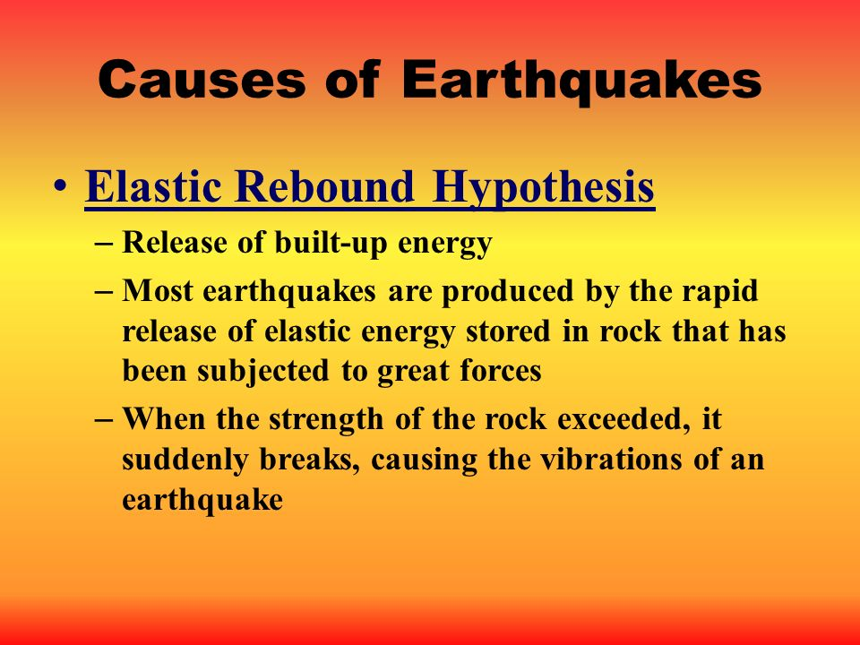 Causes of Earthquakes Elastic Rebound Hypothesis