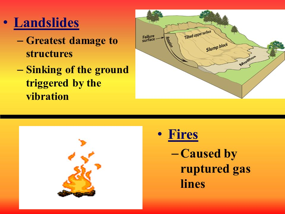 Landslides Fires Caused by ruptured gas lines