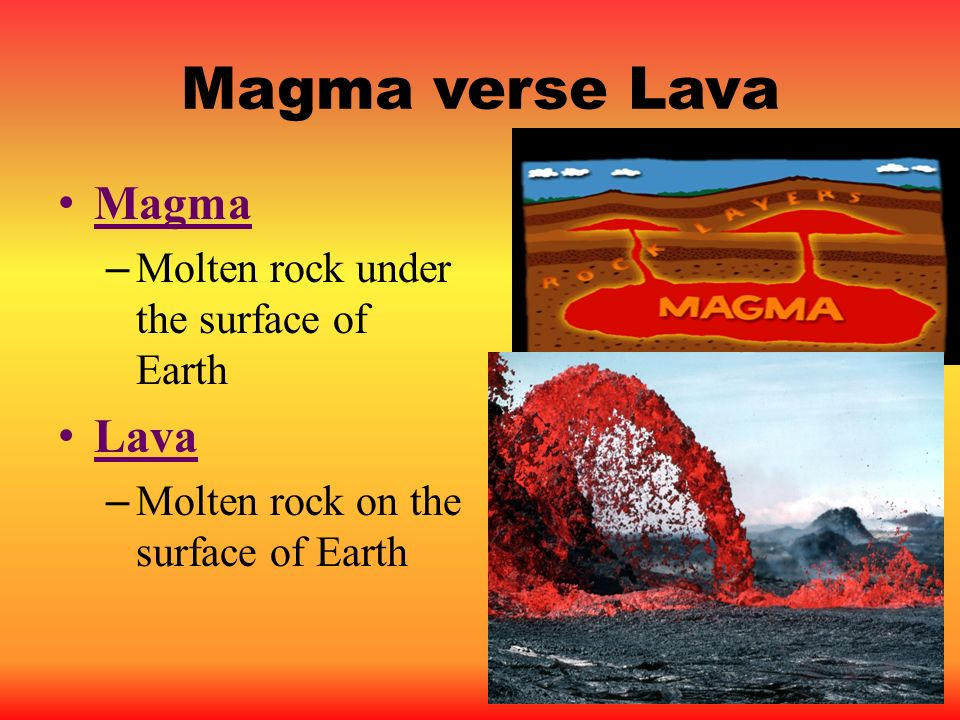 Magma verse Lava Magma Lava Molten rock under the surface of Earth