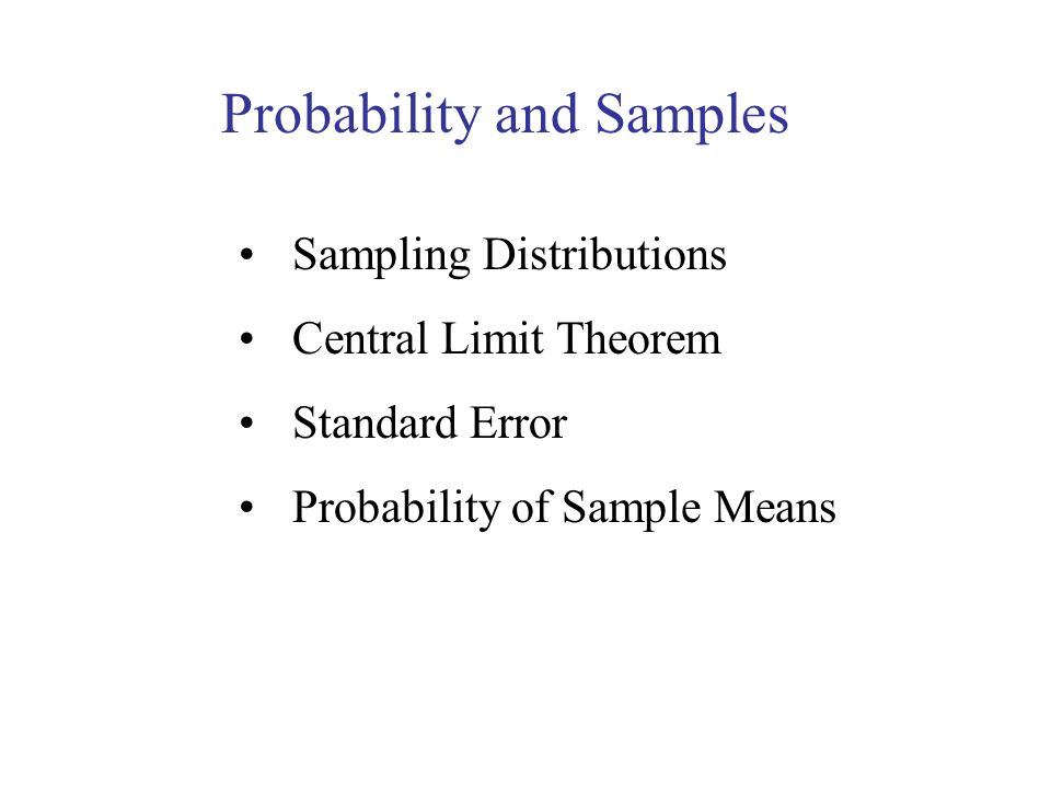 Probability and Samples
