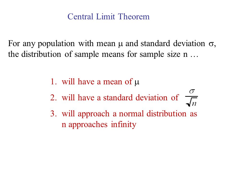 Central Limit Theorem For any population with mean  and standard deviation , the distribution of sample means for sample size n …