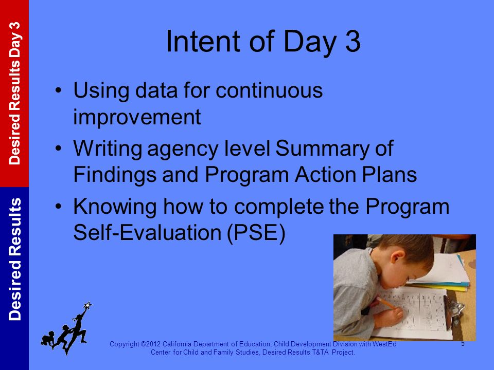 Intent of Day 3 Using data for continuous improvement