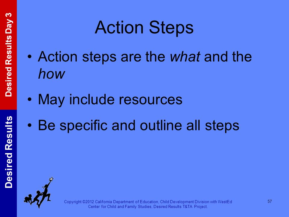 Action Steps Action steps are the what and the how