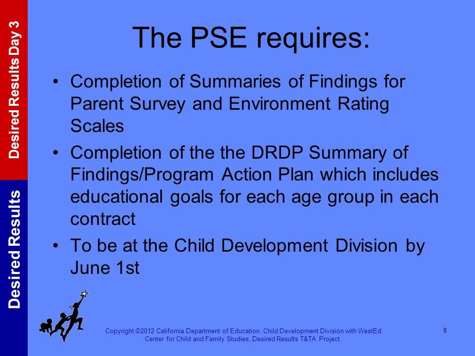 The PSE requires: Completion of Summaries of Findings for Parent Survey and Environment Rating Scales.