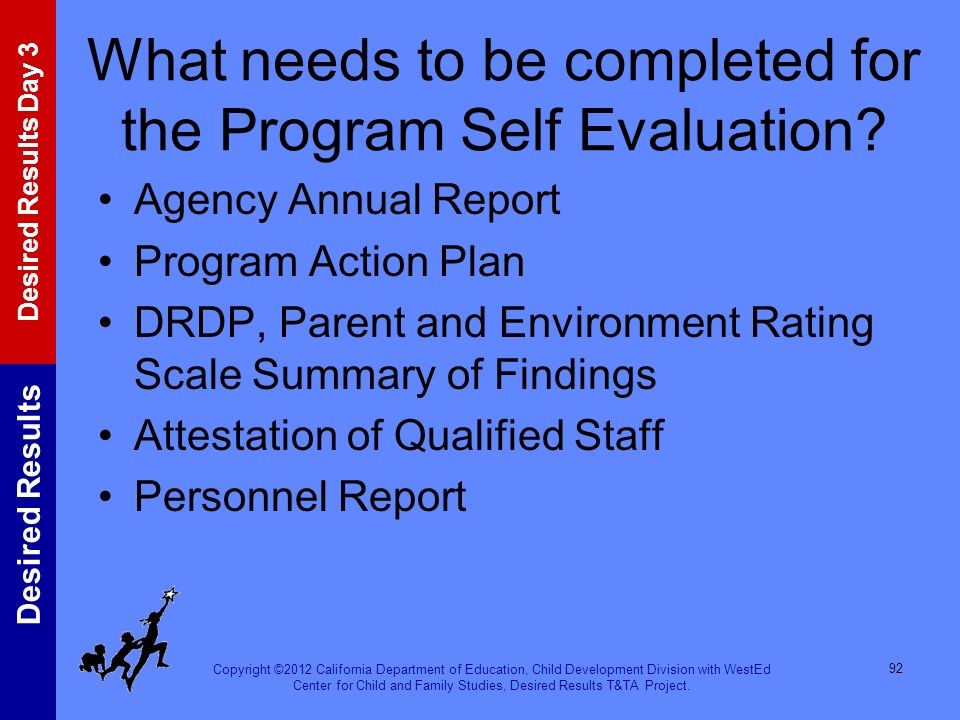 What needs to be completed for the Program Self Evaluation