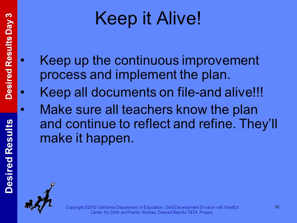 Keep it Alive! Keep up the continuous improvement process and implement the plan. Keep all documents on file-and alive!!!