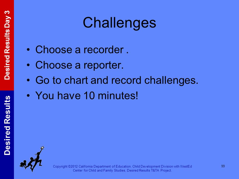 Challenges Choose a recorder . Choose a reporter.