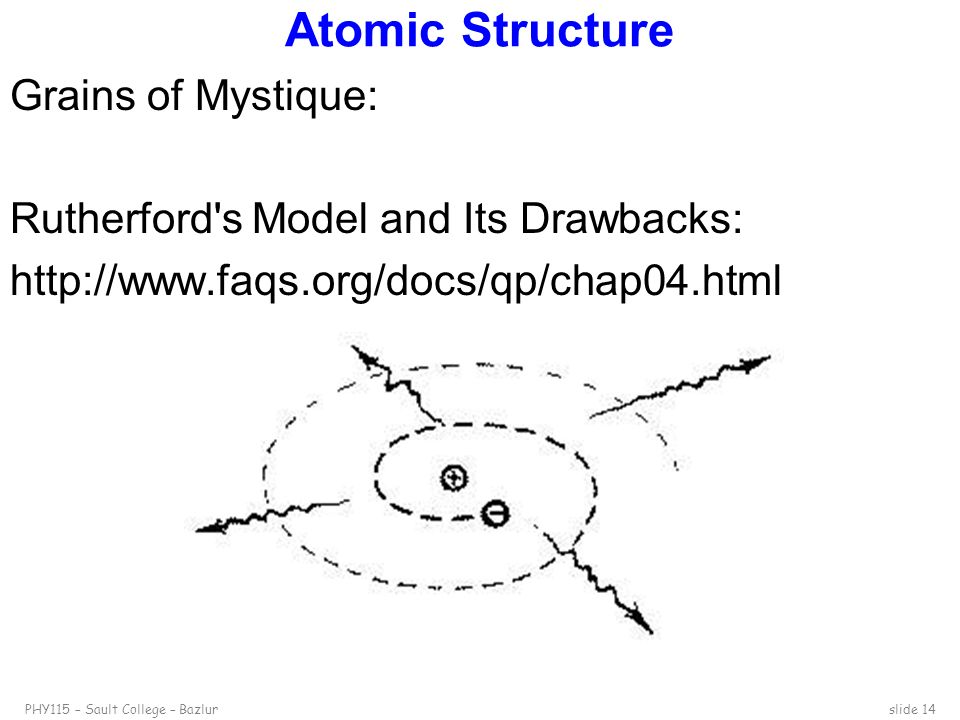 Atomic Structure Grains of Mystique: Rutherford s Model and Its Drawbacks: http://www.faqs.org/docs/qp/chap04.html