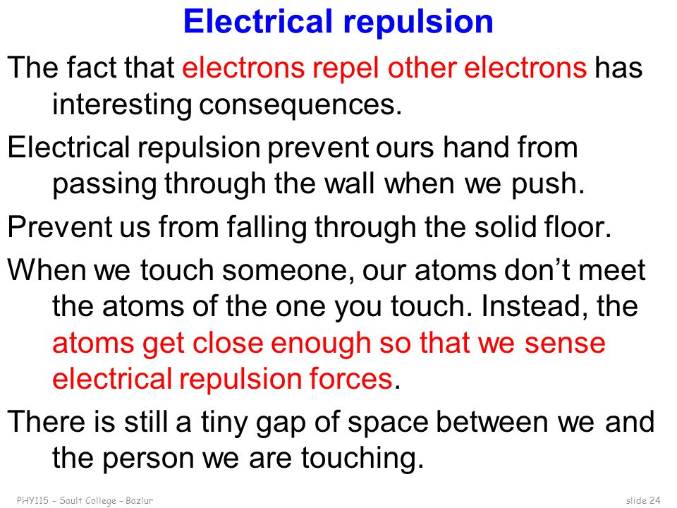 Electrical repulsion