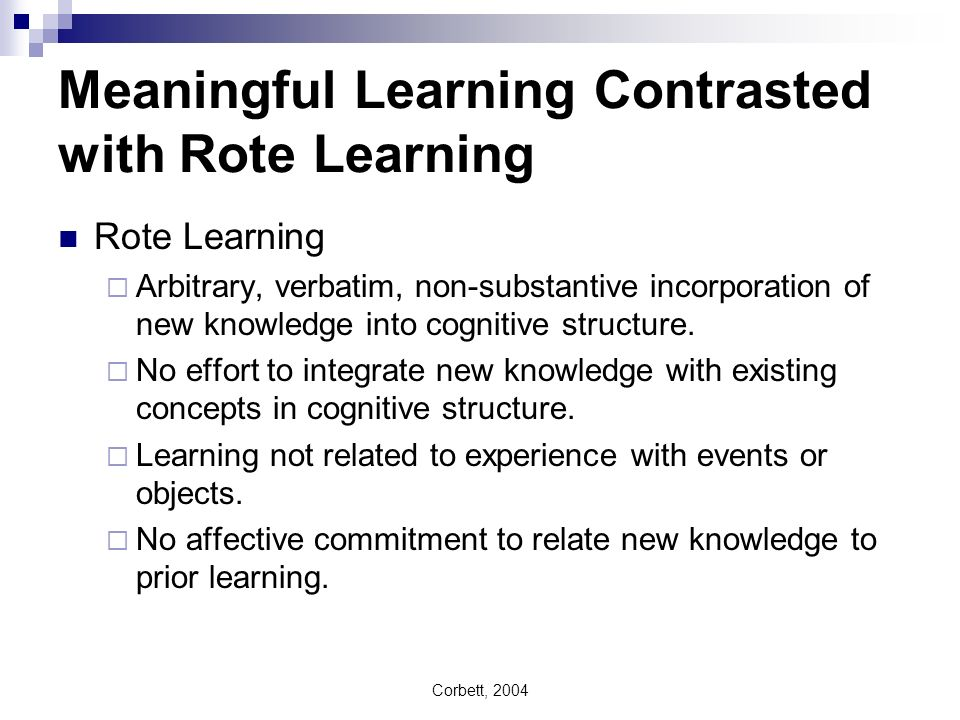 Meaningful Learning Contrasted with Rote Learning