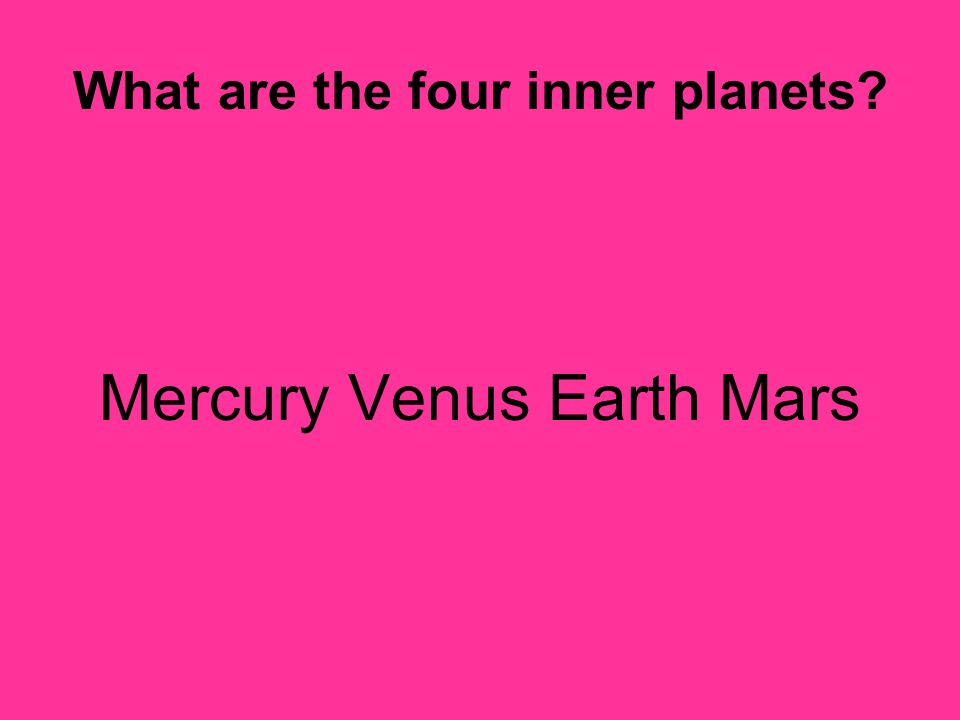 What are the four inner planets