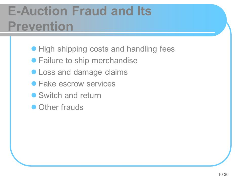 E-Auction Fraud and Its Prevention