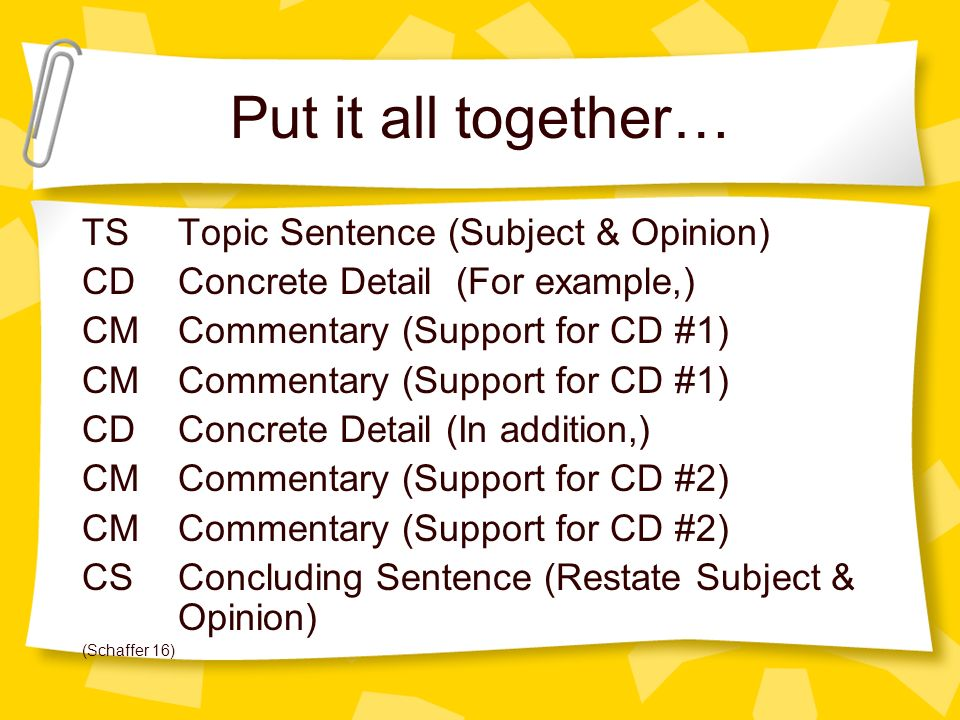 Put it all together… TS Topic Sentence (Subject & Opinion)