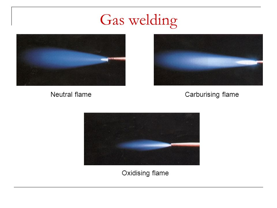 Gas welding Neutral flame Carburising flame Oxidising flame