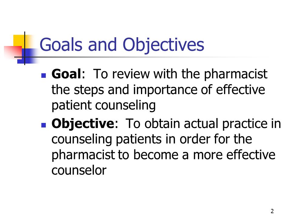 Goals and Objectives Goal: To review with the pharmacist the steps and importance of effective patient counseling.