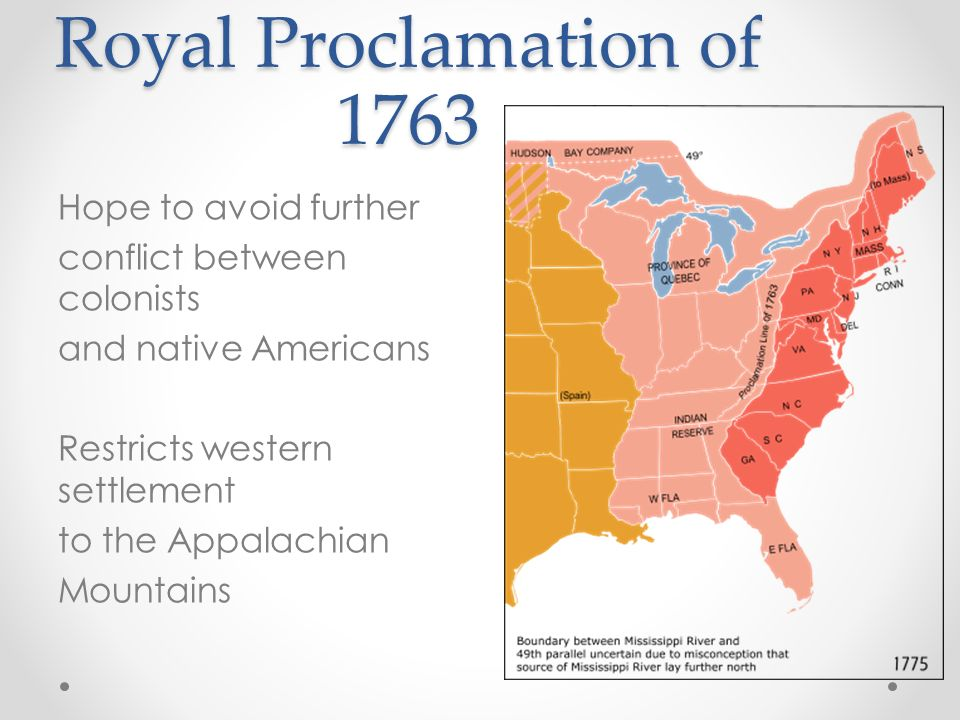 Royal Proclamation of 1763 Hope to avoid further