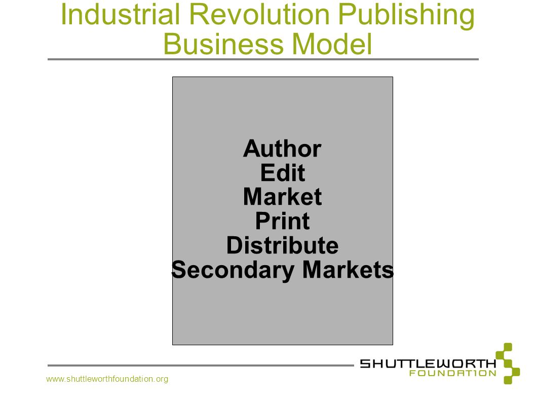 Industrial Revolution Publishing Business Model