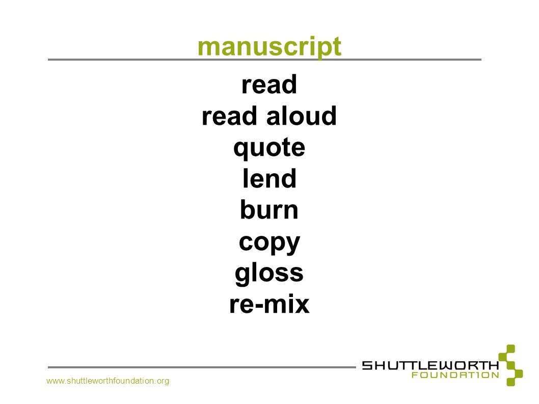 manuscript read read aloud quote lend burn copy gloss re-mix
