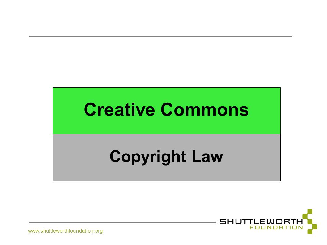 Creative Commons Copyright Law www.shuttleworthfoundation.org