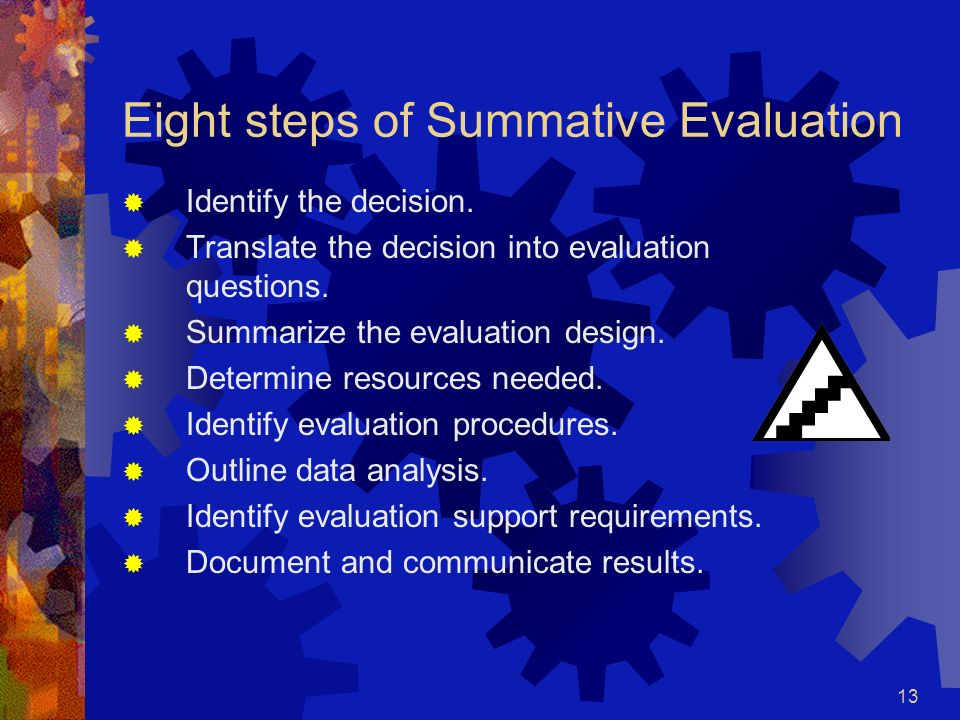 Eight steps of Summative Evaluation