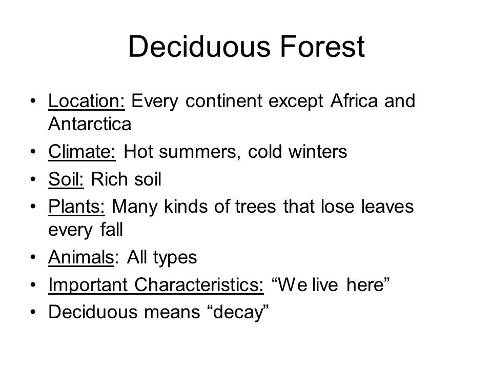 Deciduous Forest Location: Every continent except Africa and Antarctica. Climate: Hot summers, cold winters.