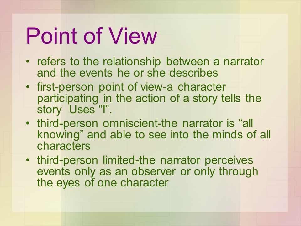 Point of View refers to the relationship between a narrator and the events he or she describes.