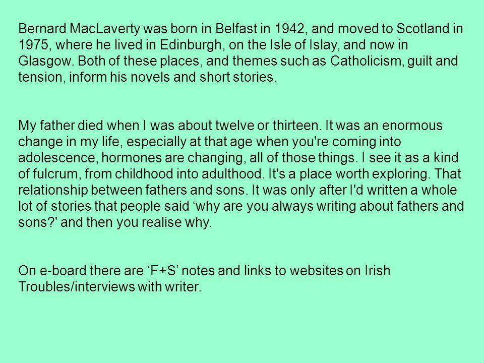 father and son bernard maclaverty critical essay