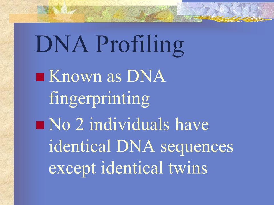 DNA Profiling Known as DNA fingerprinting