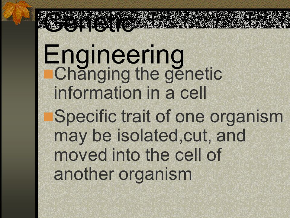 Genetic Engineering Changing the genetic information in a cell