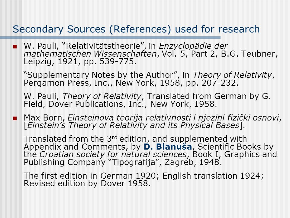 Secondary Sources (References) used for research