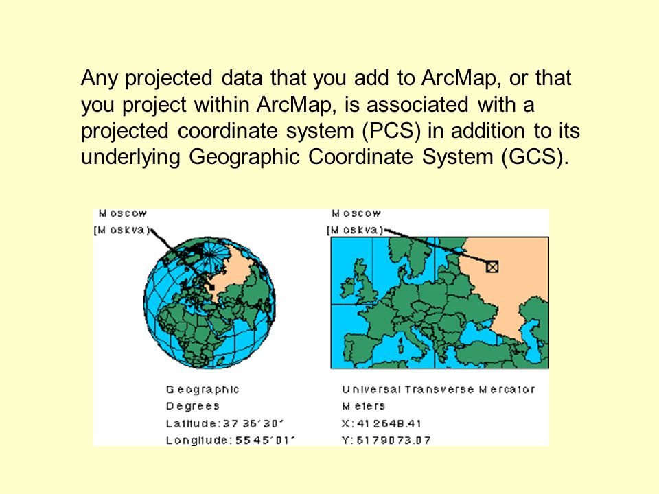 Any projected data that you add to ArcMap, or that you project within ArcMap, is associated with a projected coordinate system (PCS) in addition to its underlying Geographic Coordinate System (GCS).