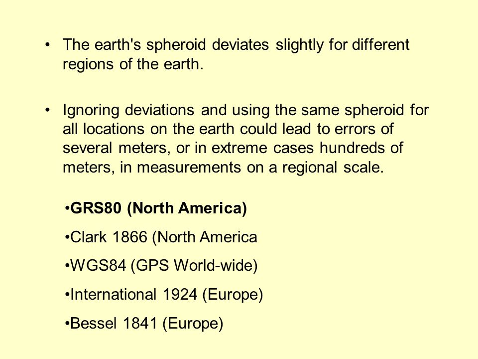 The earth s spheroid deviates slightly for different regions of the earth.