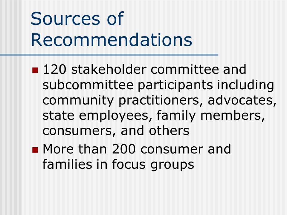 Sources of Recommendations