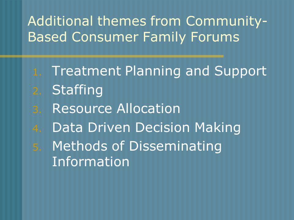 Additional themes from Community-Based Consumer Family Forums