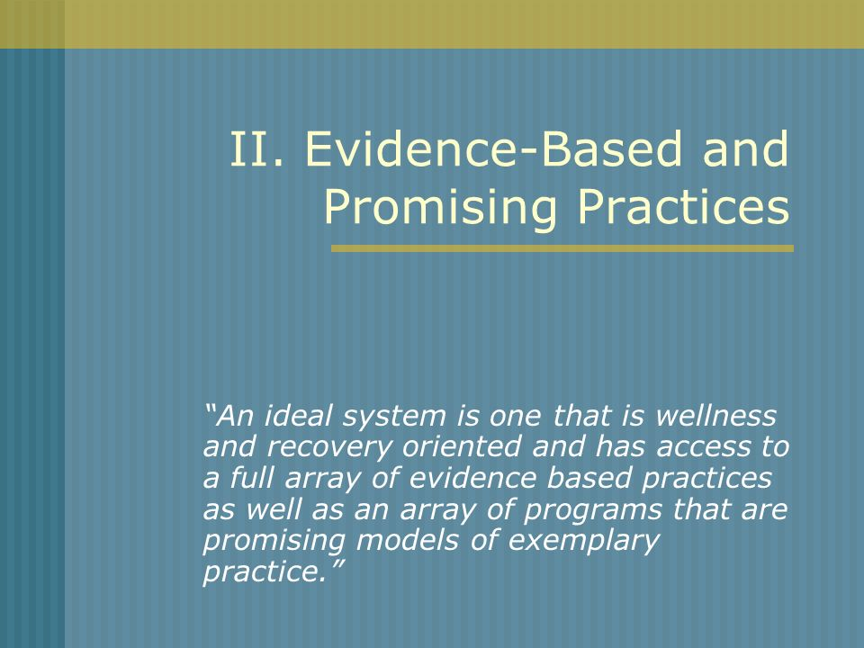 II. Evidence-Based and Promising Practices