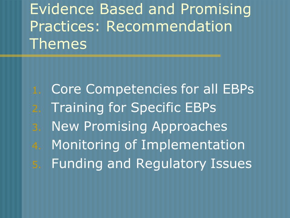 Evidence Based and Promising Practices: Recommendation Themes