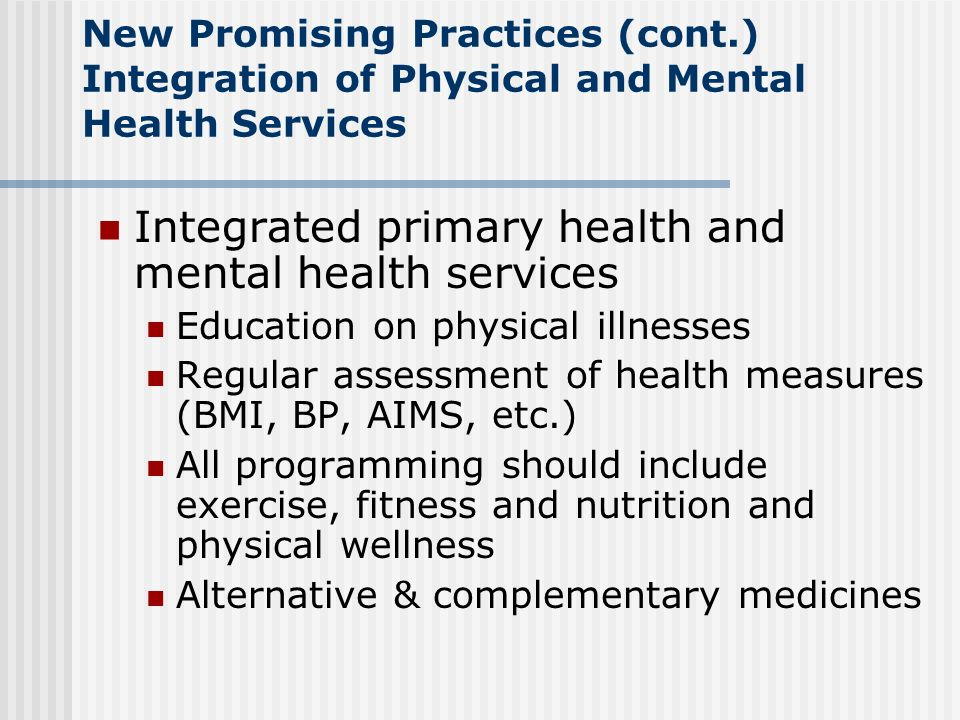 Integrated primary health and mental health services