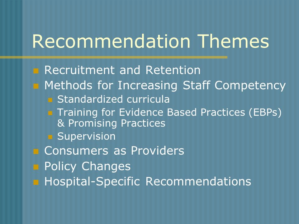 Recommendation Themes